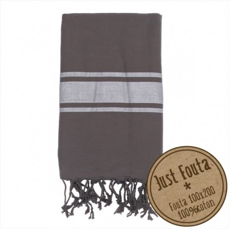 Fouta plate Punchy Cendre rayée blanc