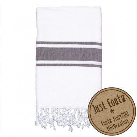 Fouta plate Punchy Blanche écume rayée grise