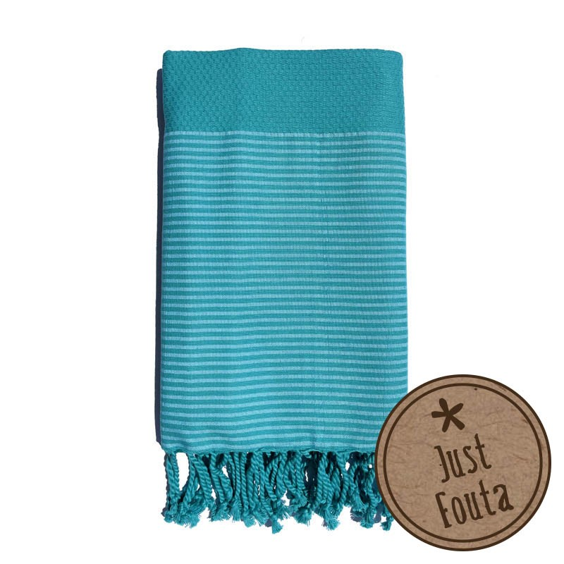Fouta nid d'abeille Turquoise rayée blanche